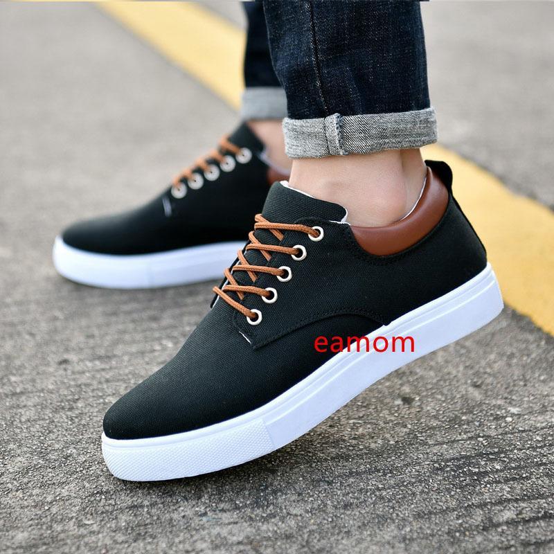 Дешевые мужчины мода холст кроссовки черный белый синий серый красный мужская повседневная обувь из бега ходьба стиль 4