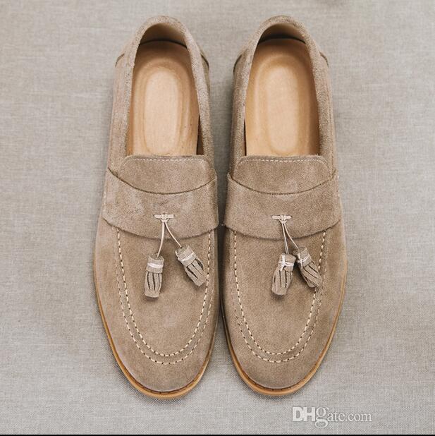 الأزياء الفاخرة إيطاليا الرجال الجلد المدبوغ الأعلى سيدر الشرابة المتسكعون قارب الأحذية رجل كاكي جلد الغزال المتسكعون قارب اليدوية الأحذية الجلدية عارضة