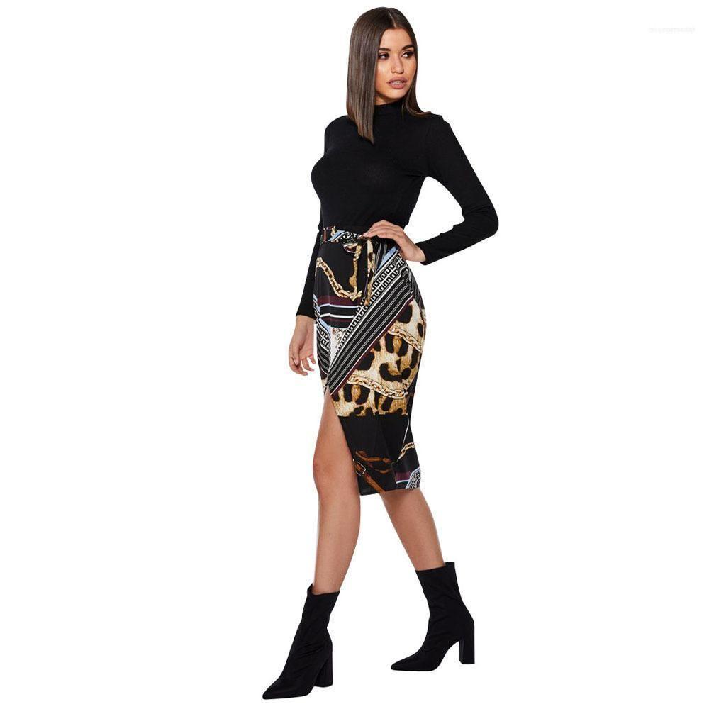 Up Designer Printed-Verband-Kleid Röcke Frauen-Leopard-Rock-Sommer-Split