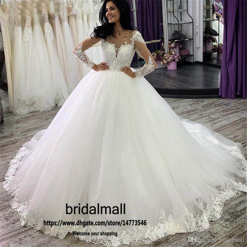 robes de mariée 2020 Sheer длинные рукава кружева свадебные платья аппликации тюль совок свадебное платье кнопки Назад свадебные платья vestidos de novia