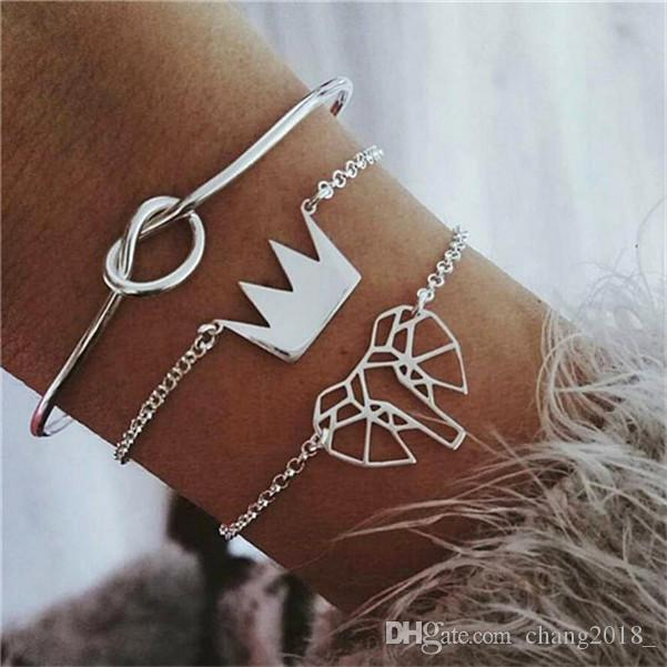 18 styles Fashion Hollow Elephant Crown Knotted Silver Opening Multilayer Cuff Bracelet Set Female Charm Clothing Accessories HZSSL2