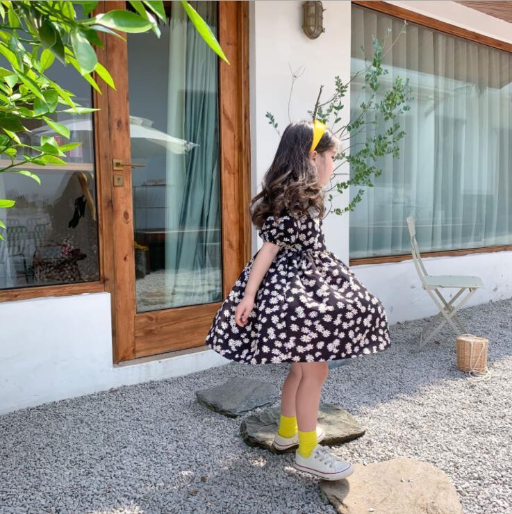 2020 Coréia do estilo Meninas Impresso Vestido Moda Verão Cotton Meninas Vestidos 2-7 Anos QH703