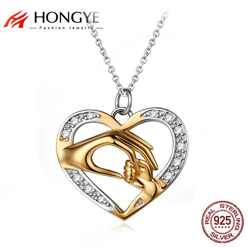HONGYE Unique Design 925 Sterling Silver Jewelry Hand in Hand Heart Love Necklaces Pendants Mom Loves Baby Best Friend Gift