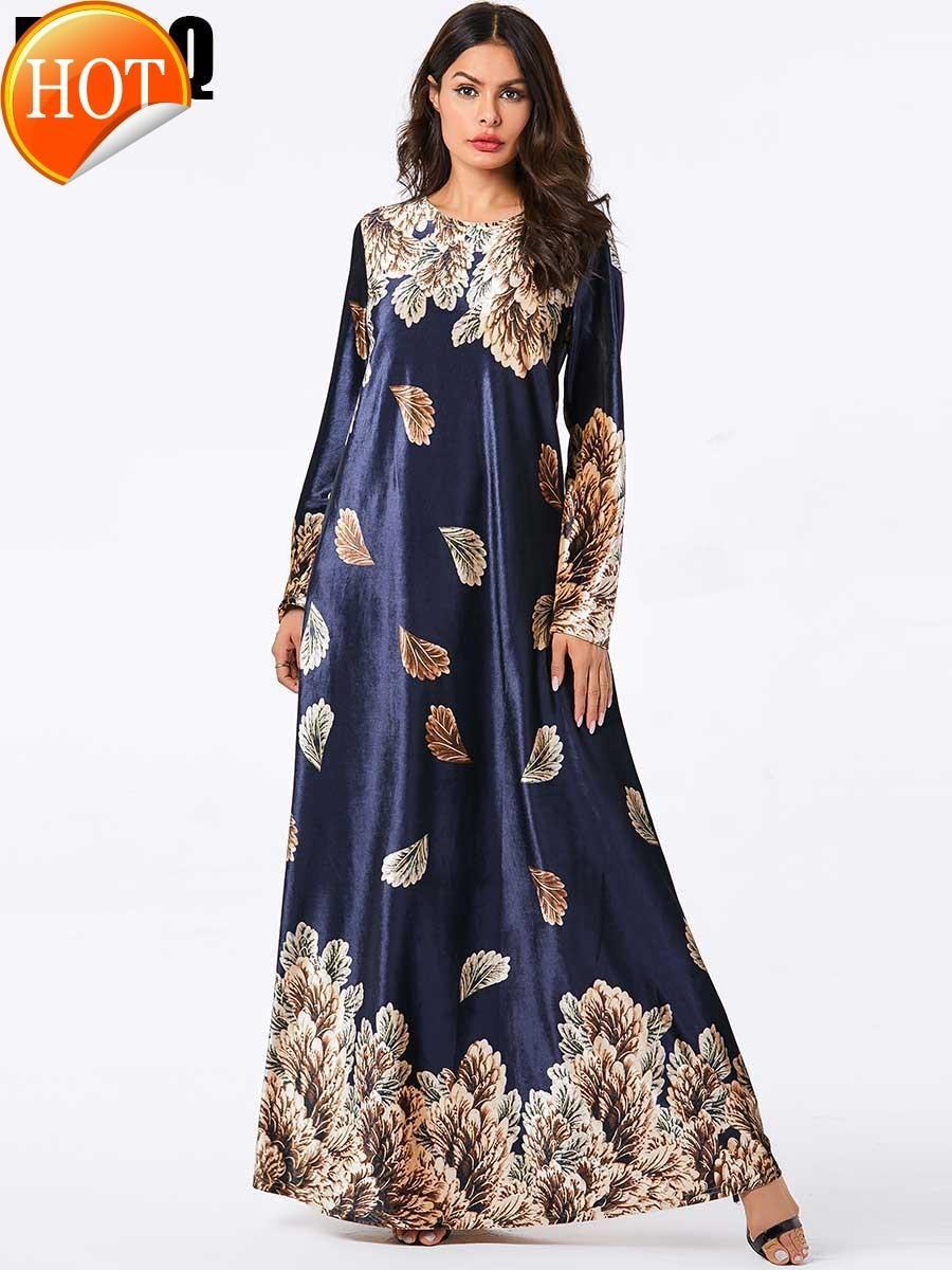 Azul dourado impressão Sleeve muçulmana Casual modesta Moda Hijab Dresss Mulheres Mc207825 Grande Tamanho da Mulher ouro Velvet Longo