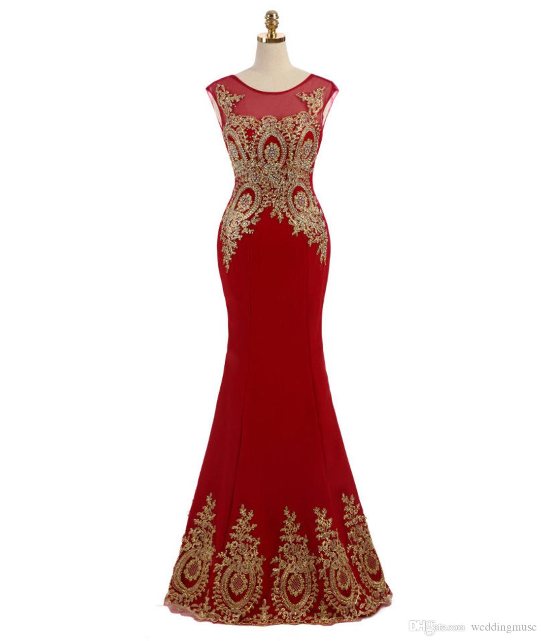 2020 Red Formal Evening Dresses Gold Lace Appliques Sequins Jewel Sleeveless Mermaid Court Train Plus Size Prom Evening Gown
