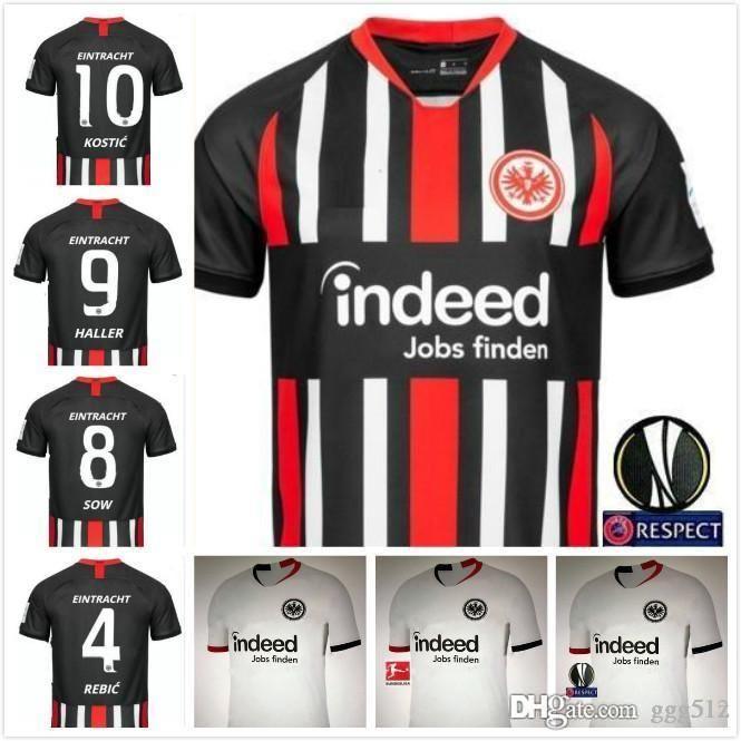 2019 2020 Eintracht Frankfurt Fußball AG jersey 19 20 KOSTIC REBIC camisa casa negro JOVIC HALLER fútbol blanco camisetas de fútbol Jersey SGE