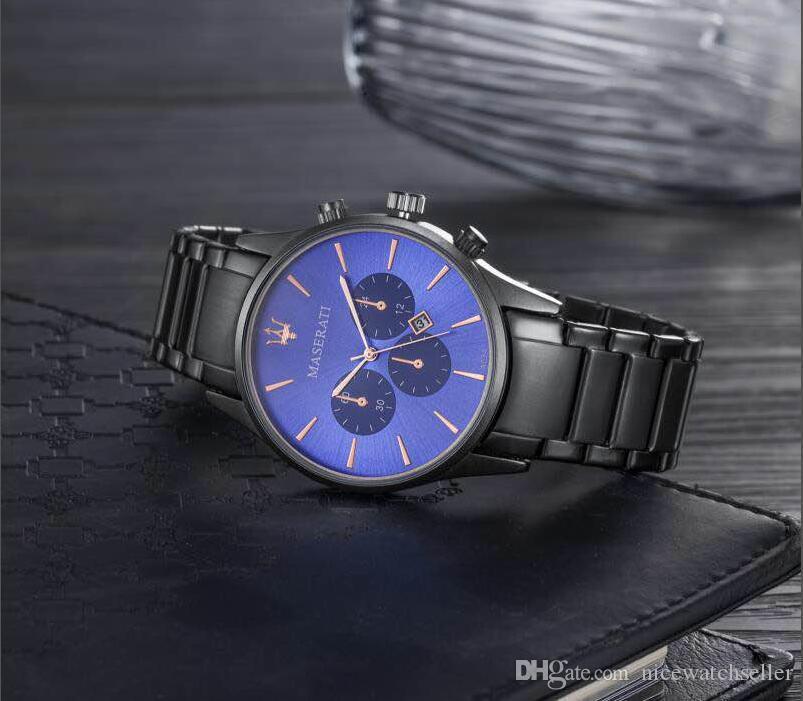 سوبر الجودة 2019 USA إيطاليا أزياء العلامة التجارية مازيراتي عارضة للصدأ ووتش فولار رجال الأعمال 42MM كوارتز ساعة المعصم