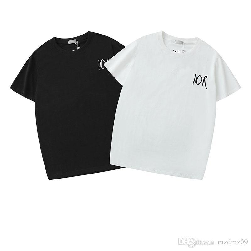 جعل 19SS إيطاليا الرجال عارضة ص ص تي شيرت أزياء إلكتروني الهندسي طباعة قميص من النوع الثقيل الرجال والنساء في الشارع البلوز الهيب هوب تي شيرت dior men shirt