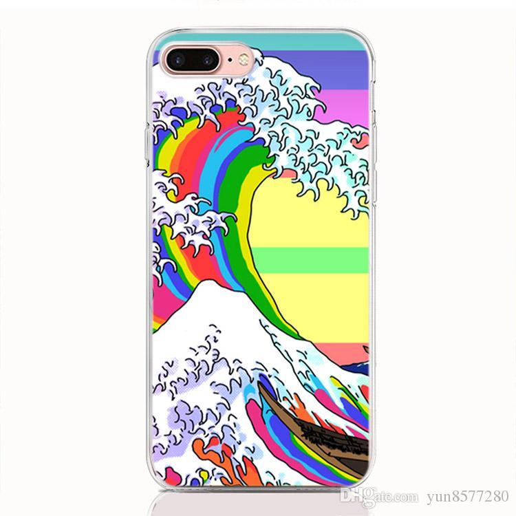 Para Google Pixel 2 3 XL 3XL 2XL 3XL Lite 3 Lite funda suave TPU Estampado de dibujos animados Wave Art Japanese Fundas de teléfono de alta calidad