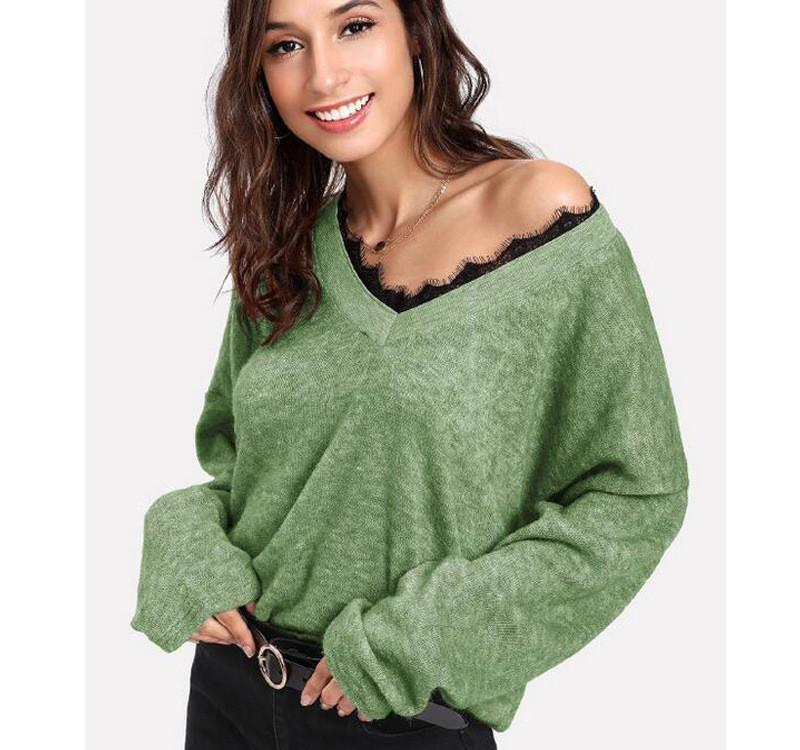 Frieed Women Cotton Casual Loose V Neck Solid Pullover Sweatshirt Crop Top