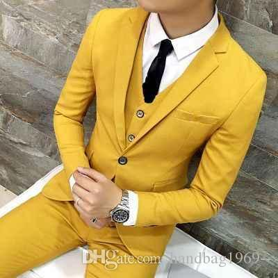 Modische One Button Bräutigam Smoking Kerbe Revers Mann-Hochzeit Blazer Herren Prom Anzüge (Jacket + Pants + Vest + Tie) H: 718