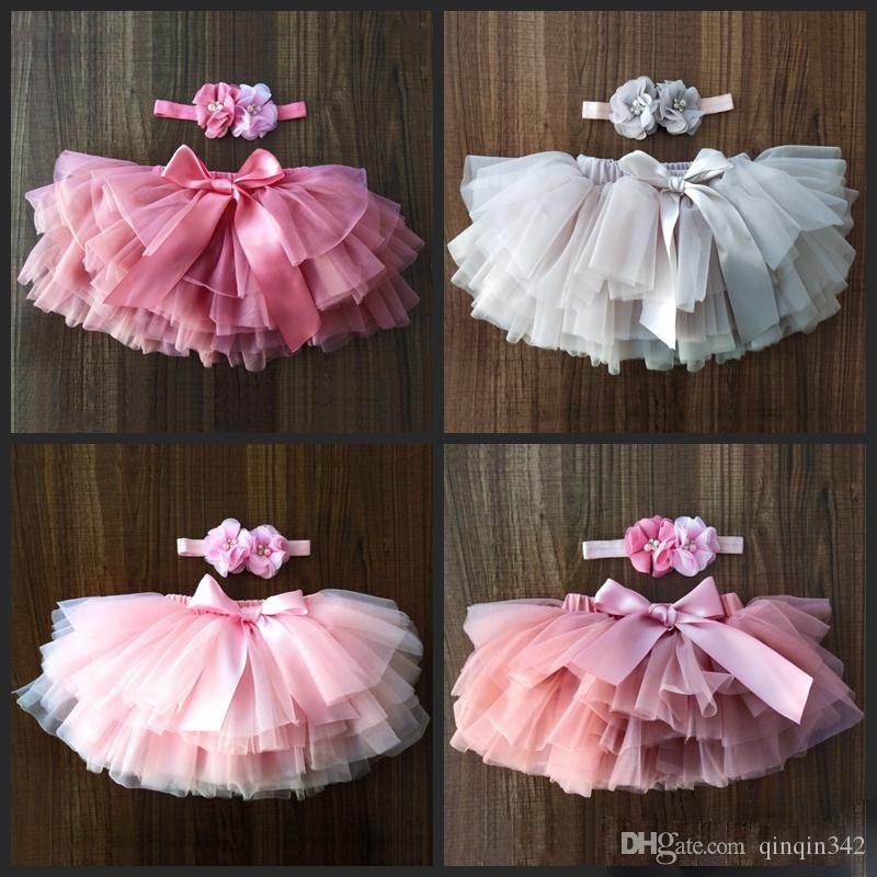 DHL baby girls tulle bloomers Infant newborn tutu diapers cover 2pcs short skirts and flower headband Baby party photograph clothes