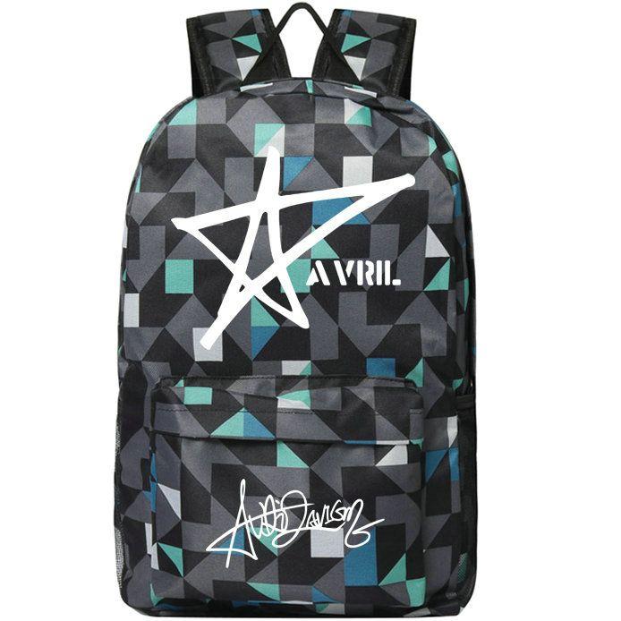 Avril Ramona Lavigne Backpack Pop Day Pack Popular Star School حقيبة الموسيقى Packsack طباعة Rucksack Sport Schoolbag في الهواء الطلق Daypack