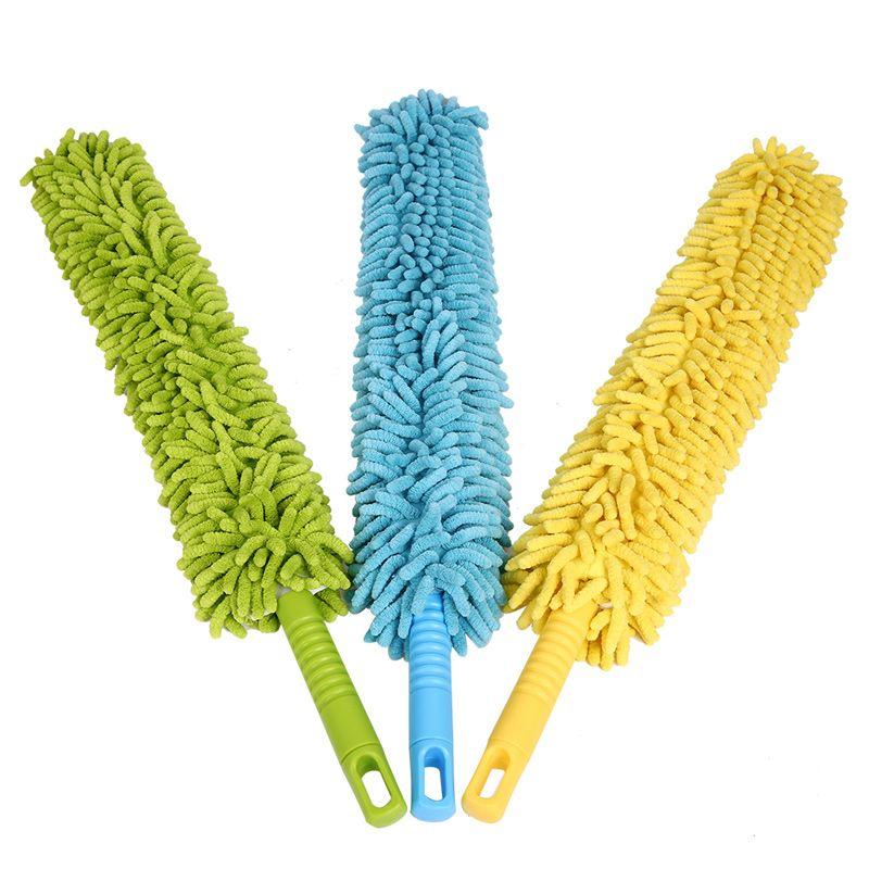 Chenilla de microfibra plumero de mango flexible lavable Limpiador Limpiar el polvo de los muebles