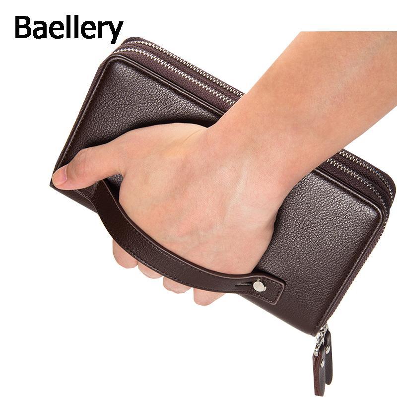 Bag Black Men Portafogli Baellerry Brown Grande frizione Capacità regalo per maschi doppio lunga cerniera Portafoglio borsa della borsa