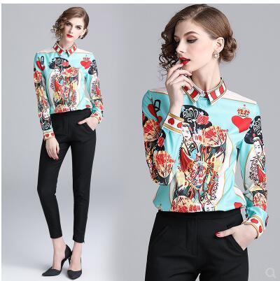 Европейский дизайн моды 2020 новый женский персонаж печати повернуть вниз воротник длинный рукав блуза рубашка MLXLXXL
