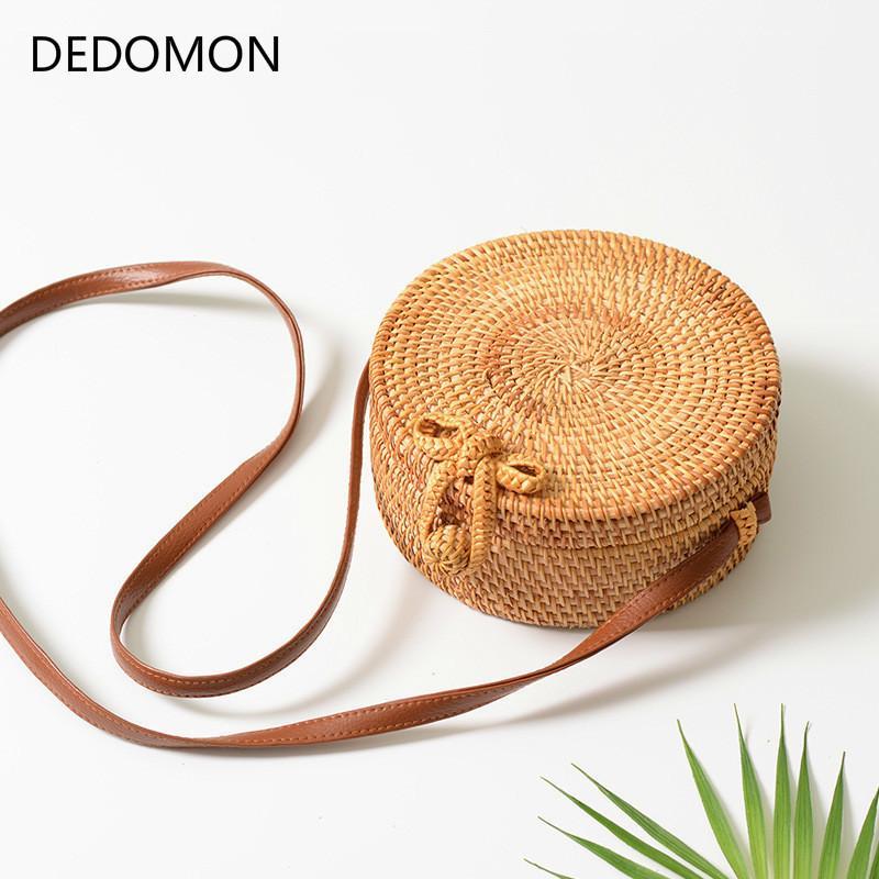 2019 nuevo bolso redondo de la paja para los bolsos de las mujeres bolso grande de la rota del verano hecho a mano tejido bolso de la playa bolsos de paja para las mujeres crossbody Y19061204