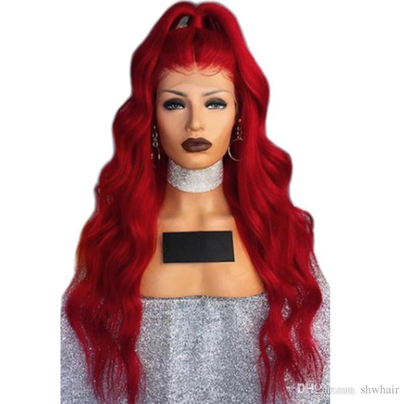 Capelli sintetici Red merletto della parte anteriore onda del corpo di Highlight Red Hair Colore lunghi Calore Resisitant Con Capelli naturali del bambino