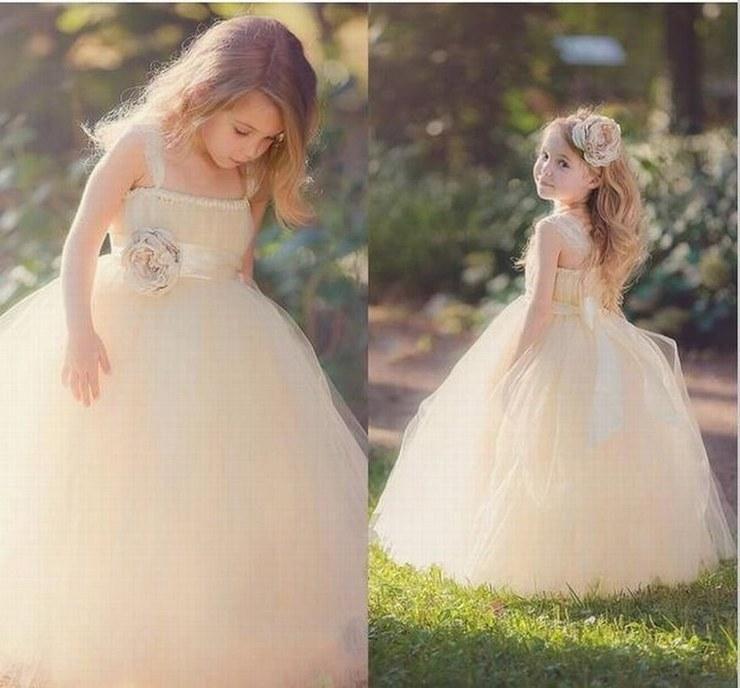 Charming Tulle Flower Girl Dresses Ball Gown Kids Pincess Pageant Wedding Bridesmaid Children Dress GHYTZ79