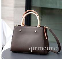 Brown mono novo estilo montaigne bolsa de lona mulheres bolsa de couro real bolsa clássico sacos GM mm tamanho com chave de bloqueio chave 41055