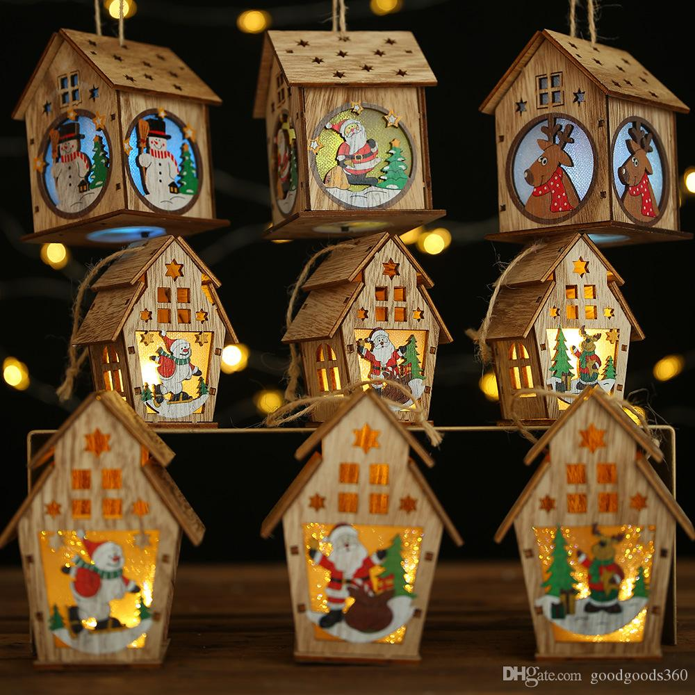 Wooden Christmas Lighted Cabin Creative Assembly Small House Decoration Illuminated Color Cabin Christmas Decoration Ornaments SZ503
