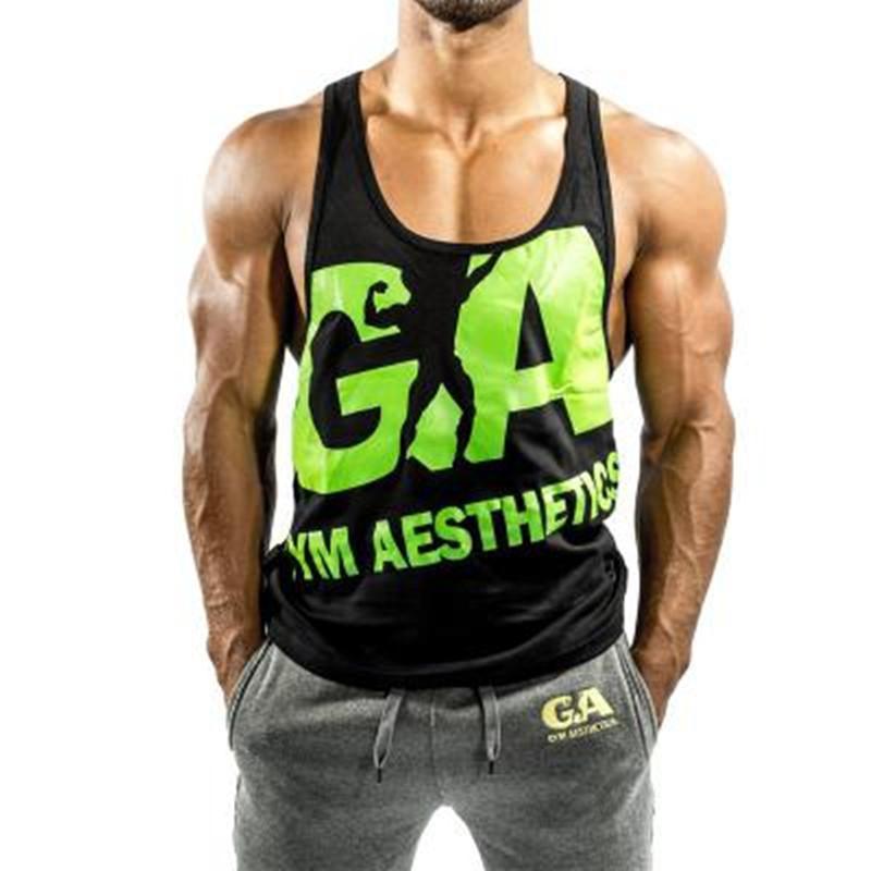 Nouveau Fitness Hommes culturisme Débardeurs manches Vêtements Gymnases singlet coton Chemises d'été Mode Vêtements d'entraînement Bonne M-2XL