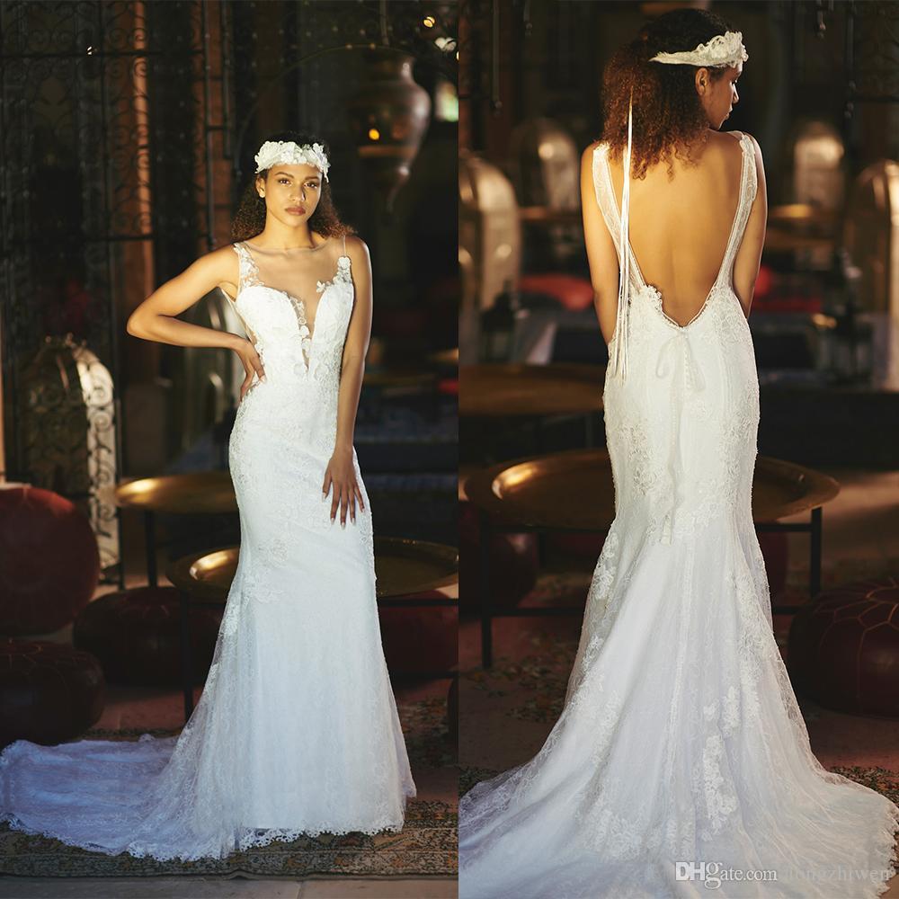 Cymarine Backless sereia vestidos de noiva Jewel Neck Beadings apliques de renda vestidos de noiva Trem da varredura Robes De Mariée