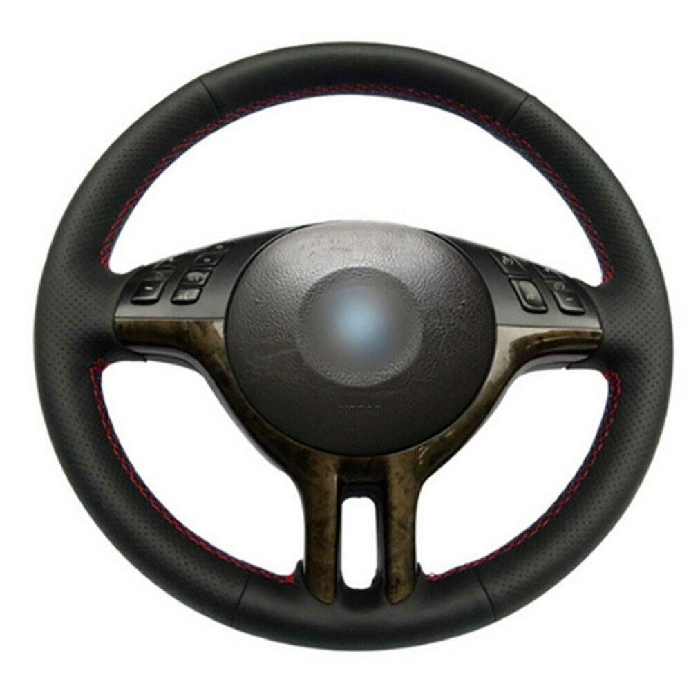 DIY الحرة مخصص PU عجلة غرزة على التفاف تغطية ل BMW E39 E46 X5