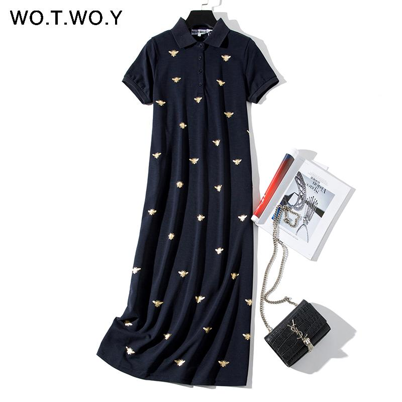 WOTWOY Bee Print Long Knee-Length Shirt Dresses Women 2019 Casual Turn-down Polo Straight Dress Female Pockets Cotton Clothes T200117