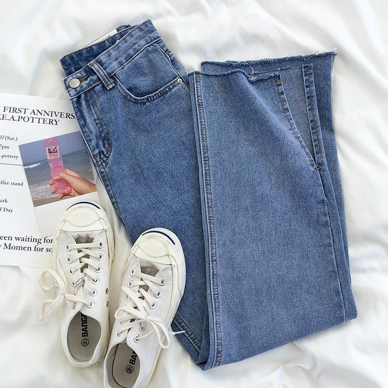 Los altos cintura largo de los pantalones vaqueros de la vendimia 2020 del verano del resorte pantalones anchos de la pierna inferior recta Casual Streetwear estilo coreano Harajuku