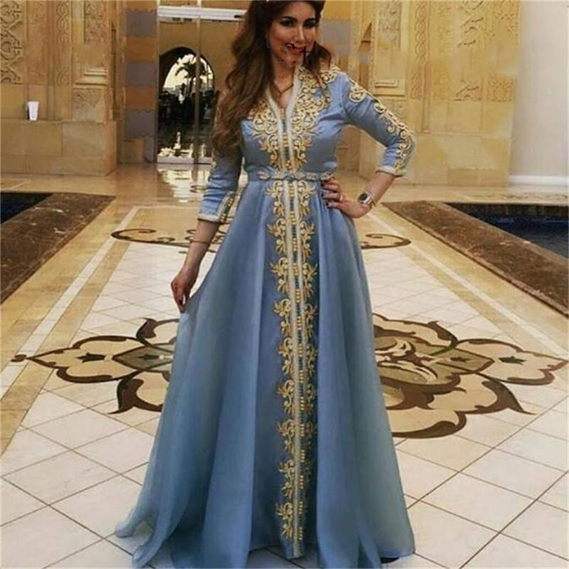 Golden Lace Appliques Moroccan Kaftan Evening Dresses Three Quarter Sleeve Saudi Arabic Prom Gowns Muslim Chiffon Party Dress