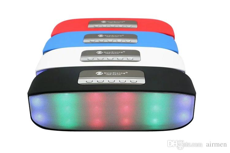 New RIXING NR-2014 Mini Wireless Bluetooth Colorful Lamp Pulse LED Light Flash Speaker Support USB TF FM Function