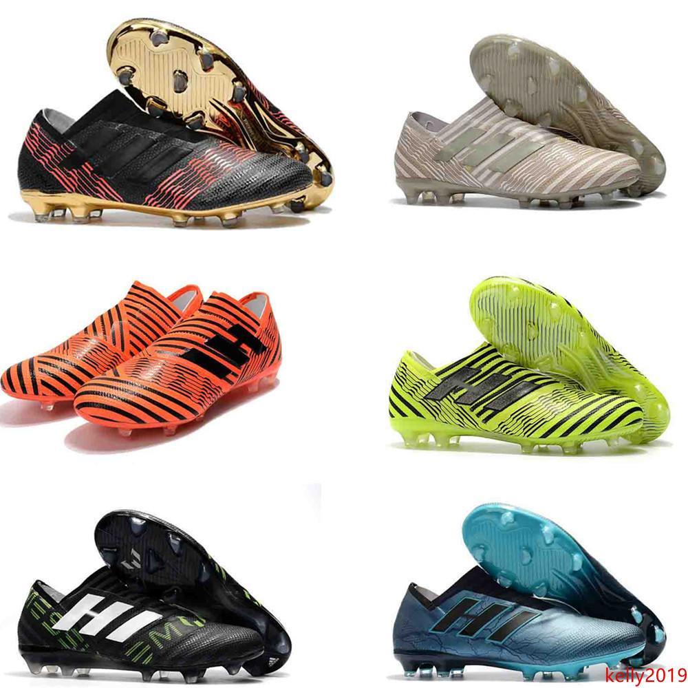Nemeziz Messi 18,1 FG 360 TPU Beweglichkeit Fußballschuh Triple Black Magnetic Pyro Sturm Mens Rasen-Fußball-Training Klampen Boots-Fußball-Schuhe
