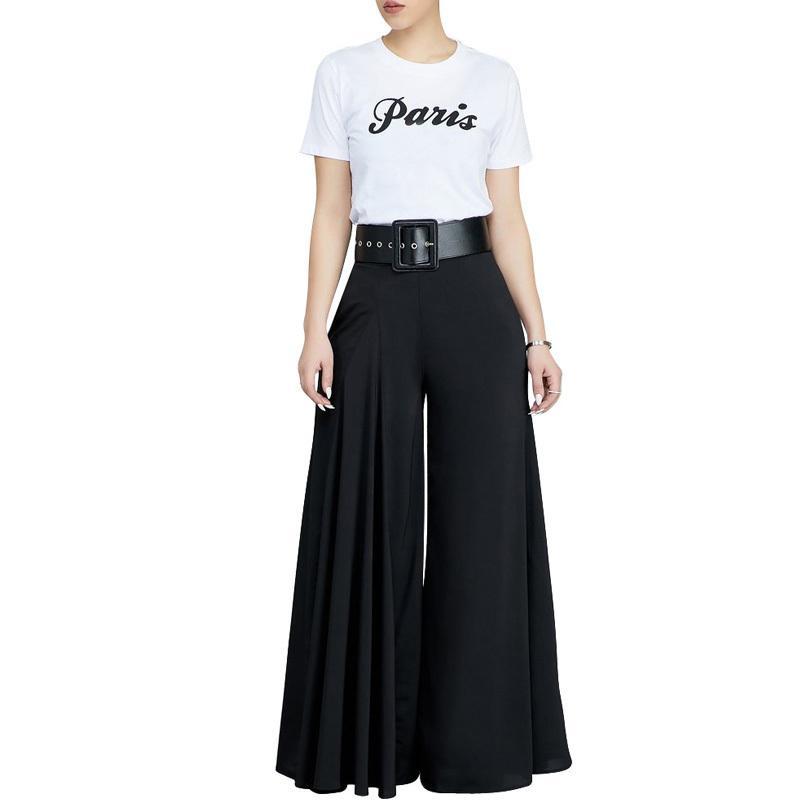 6 Color de pierna ancha Pantalón plisado de cintura alta elástica Pantalón Casual Mujer Streetwear Blanco Negro suelto Harem Pant Otoño Invierno Y19051701