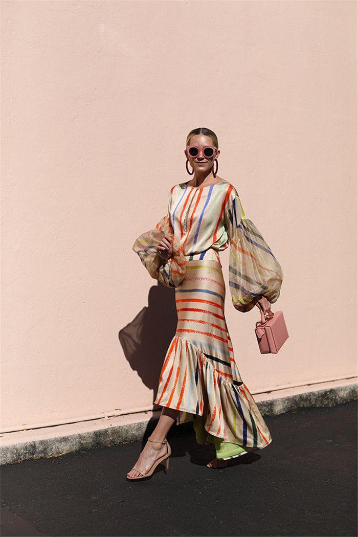여자 여름 디자이너 두 조각 드레스 라운드 넥 긴 소매 무지개 스트라이프 드레스 두 조각 세트