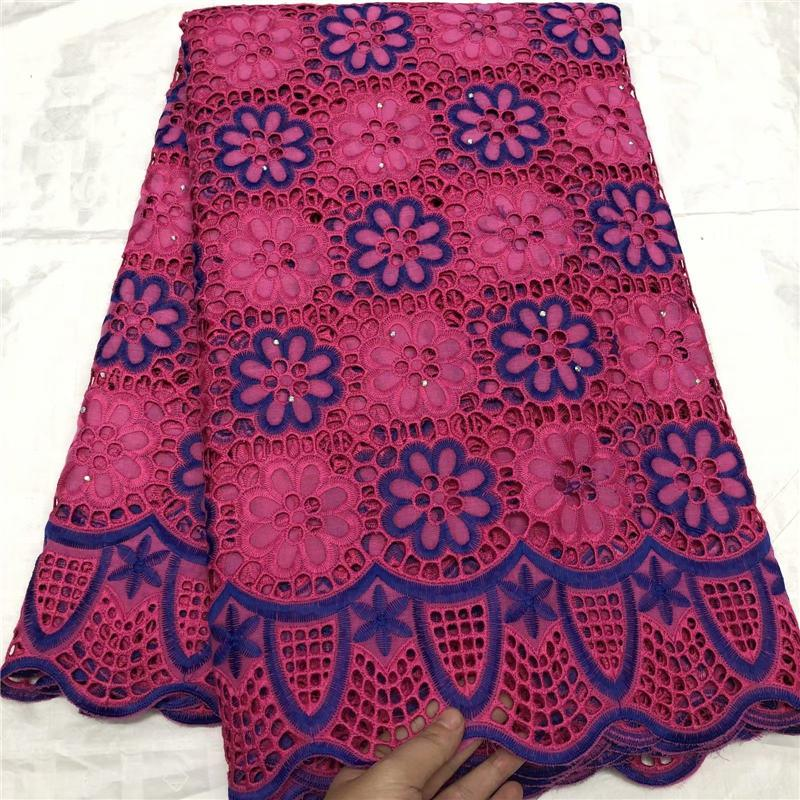 Neueste African Cotton Schweizer Voilespitzegewebe rot / pink / orange / königsblau Farbe Qualitäts-afrikanische Schweizer Voile-Spitze Schweiz