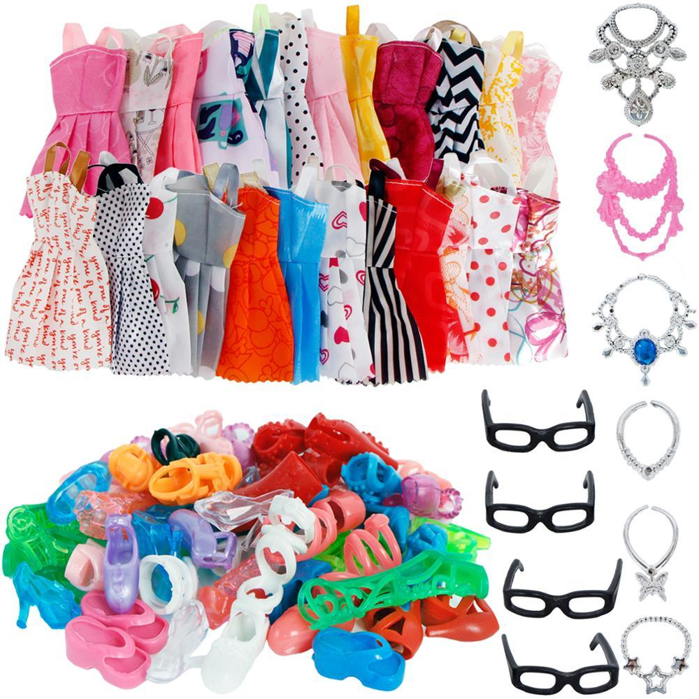 30 Öğe / Set Bebek Aksesuarları = 10x Mix Moda Sevimli Elbise + 4x Gözlük + 6x Kolyeler + Barbie Bebek Için 10x Ayakkabı Elbise Elbise