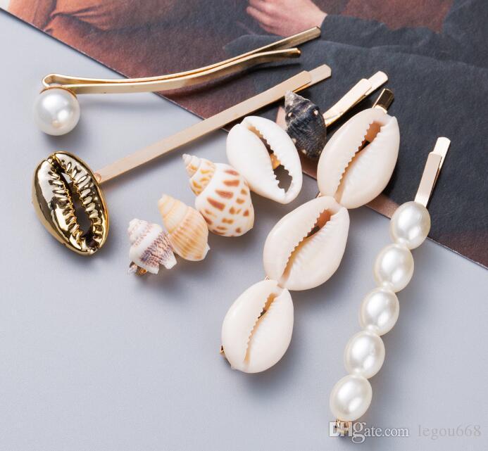 2019 New Marine Style Metal Gold Shell Conch Pearl Hairpins Hair Clips for Women Hairgrip Beach Hair Accessories GB922