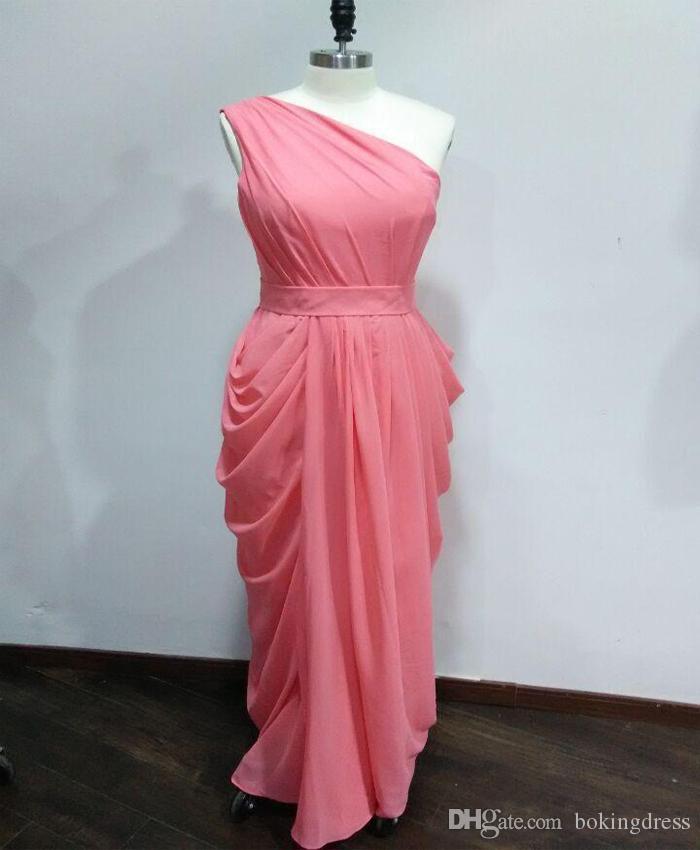 Реальные изображения одно плеча без рукавов 2020 Bridesmaids платья Длинных складок шифона свадебного Гость платье горничного честь платье выполненного на заказ
