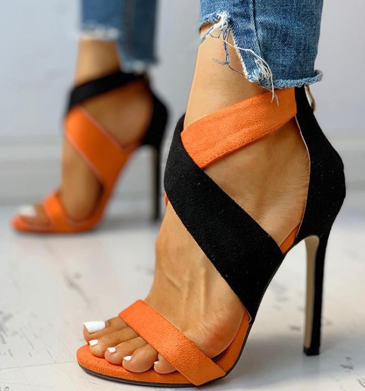 Absatz-Pumpen-Frau dünne hohe Absätze der Sommer-Frauen dünne Reißverschluss Peep Toe Sandalen Büro Sandalen Schuhe Damen