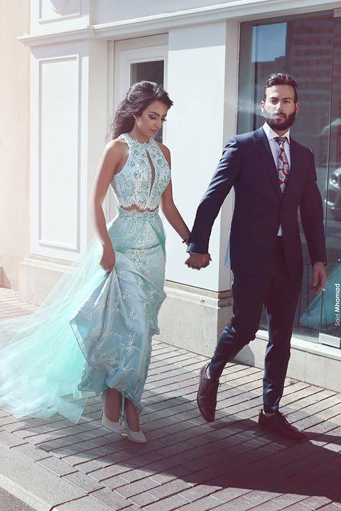 Dit Mhamad 2017 Monnaie GreenTwo- Pieces Robes de bal arabe Fleurs Robes de soirée pas cher Celebrity Robes Longueur étage
