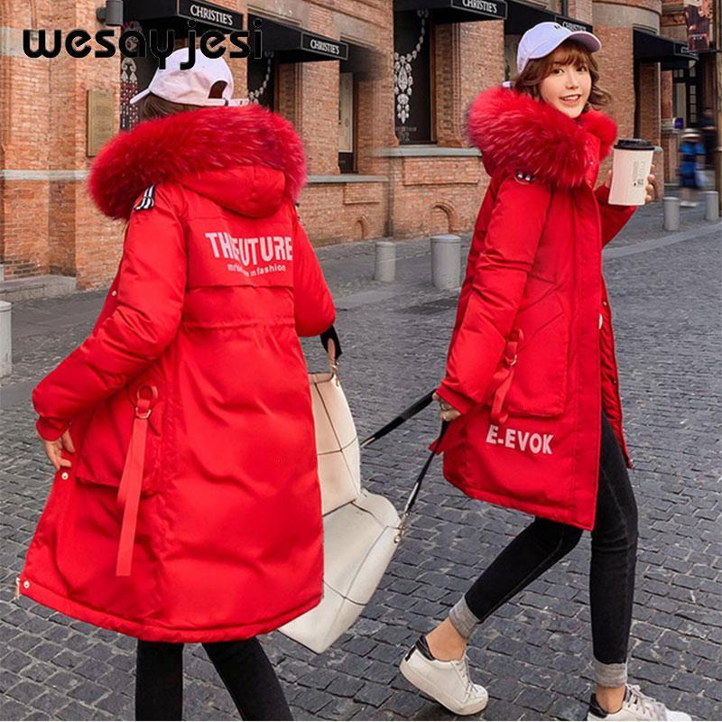 Kış Ceket Kadınlar 2019 Kış Uzun Harf Baskı Parkas Coat Çift Sıcak Big Kürk Yaka Nedensel Kapşonlu Parkas Ceket Kadın Coat CJ191128