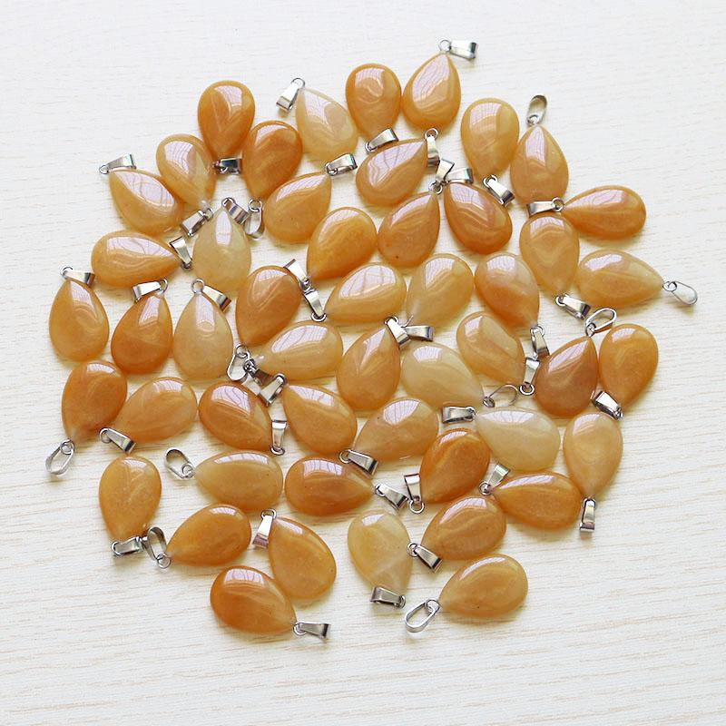 Wholesale Charms natural Yellow jad e stone warter drop teardrop beads pendants for jewelry making necklace free shipping