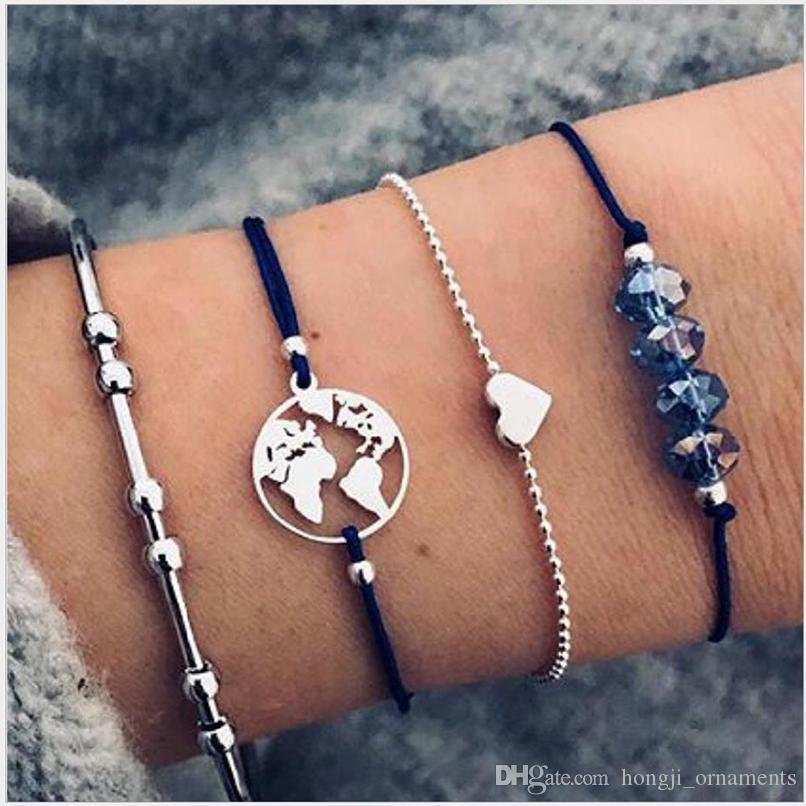 Braccialetti si 4pcs pacchetto cuore blu branello mappa tondo bordato catena catena corda color oro placcato C forma braccialetto