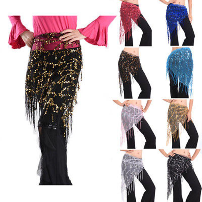 Belly Dance Triangle Beaded sequin Hip Scarf Wrap Belt black