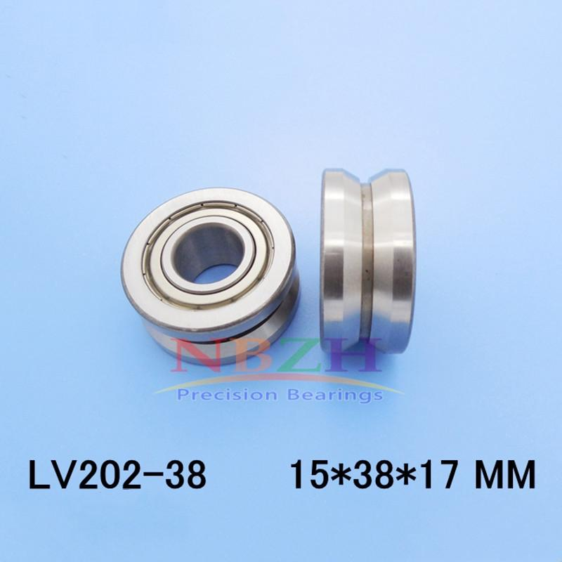 10 pcs de Alta qualidade ABEC-5 EMQ V Rolamentos de rolos do sulco LV202-38 ZZ V-38 15 * 38 * 17 (Precision dupla fileira bolas)