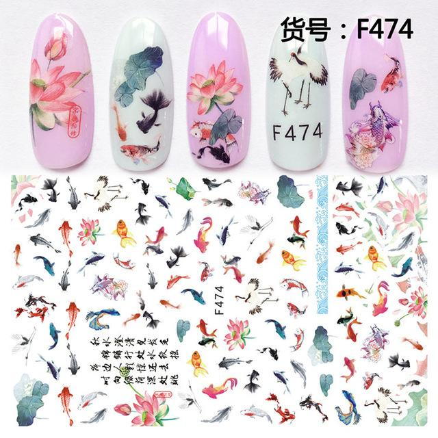 Beauty & Health 3D Nail Sticker Slider Nails Art Tattoo Decals Foil Fish Lotus Design Decoration Adhesive Manicure Tips Pegatina Wraps