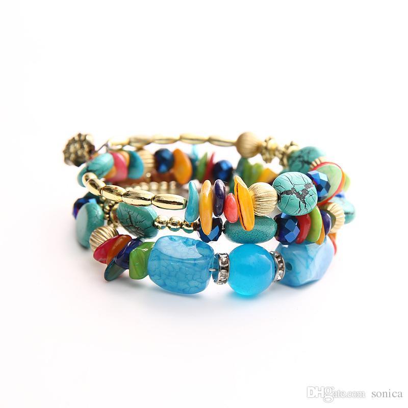 Bohemian Style Agate Stone Bracelets for Women Men Hand-woven Yoga Irregular Beads Bracelet Bangles Vintage Ethnic Fashion Jewelry