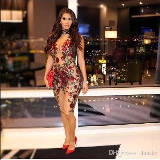 Vestidos nightclub partido vestido de noite Yousef aljasmi Bodycon Vestidos Bainha Turtle Neck Joelho de comprimento de malha bordado vestido floral Luxo
