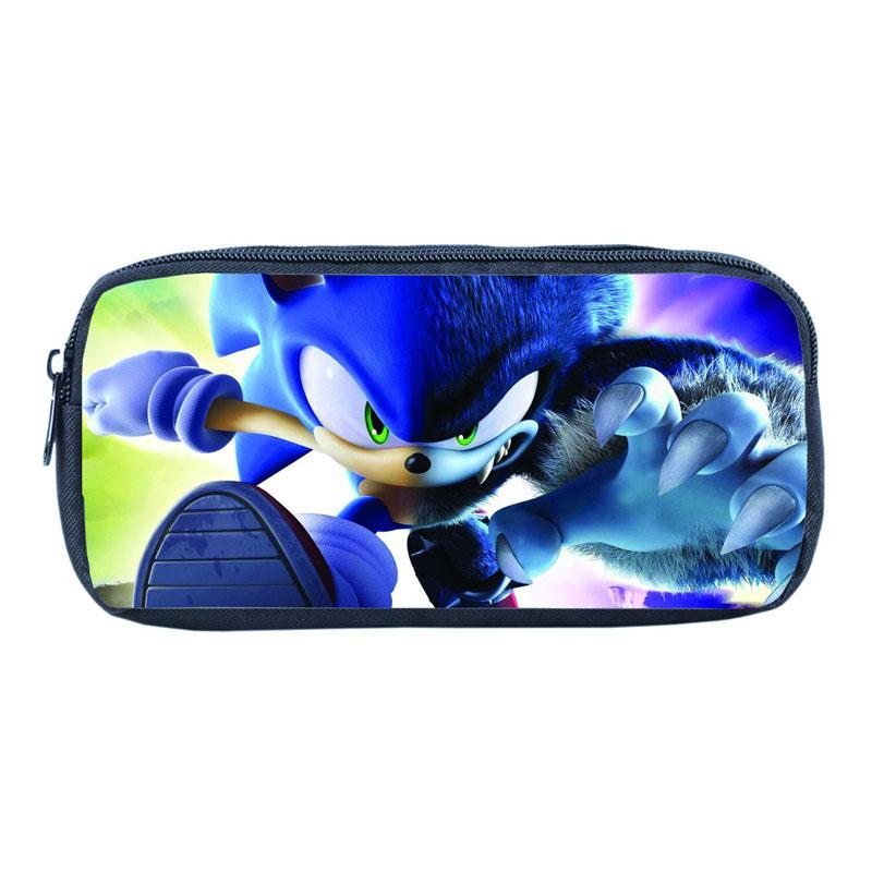 16 stili Gli studenti cassa di matita 3D Sonic the Hedgehog Cartoon Canvas Bag Stampato cassa di matita Boys and Girls universale di scrittura Box